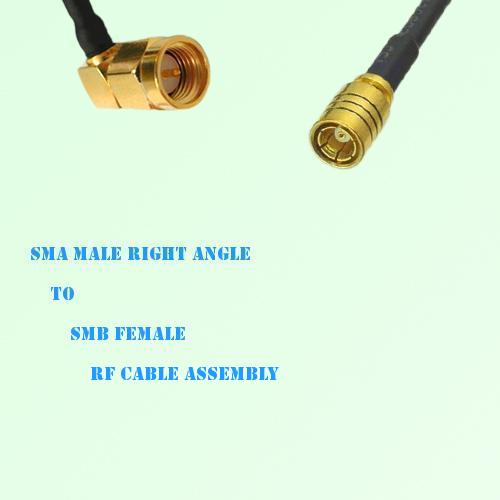 SMA Male Right Angle to SMB Female RF Cable Assembly