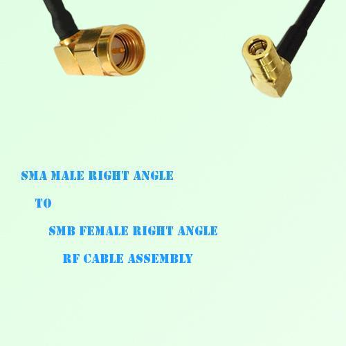 SMA Male Right Angle to SMB Female Right Angle RF Cable Assembly