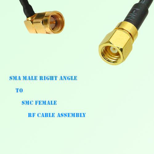 SMA Male Right Angle to SMC Female RF Cable Assembly