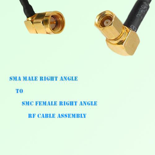 SMA Male Right Angle to SMC Female Right Angle RF Cable Assembly