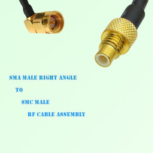 SMA Male Right Angle to SMC Male RF Cable Assembly