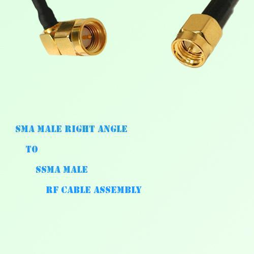 SMA Male Right Angle to SSMA Male RF Cable Assembly