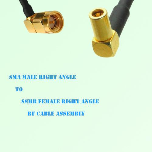SMA Male Right Angle to SSMB Female Right Angle RF Cable Assembly
