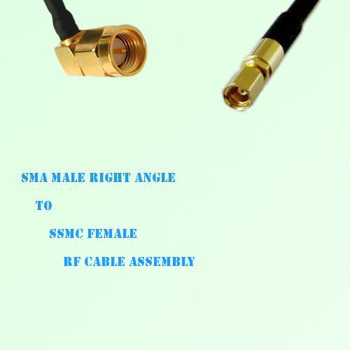 SMA Male Right Angle to SSMC Female RF Cable Assembly