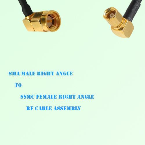 SMA Male Right Angle to SSMC Female Right Angle RF Cable Assembly