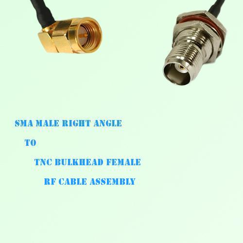 SMA Male Right Angle to TNC Bulkhead Female RF Cable Assembly
