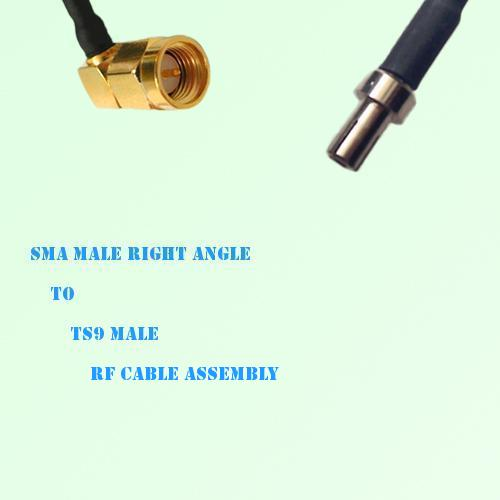 SMA Male Right Angle to TS9 Male RF Cable Assembly