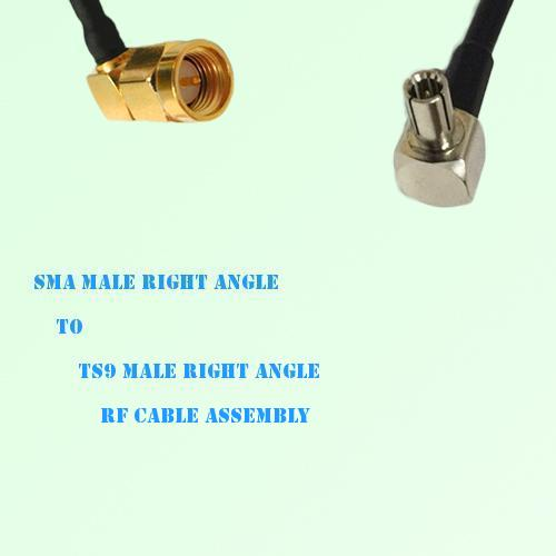 SMA Male Right Angle to TS9 Male Right Angle RF Cable Assembly