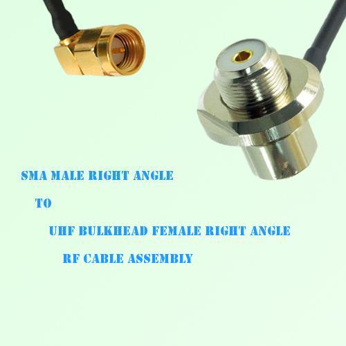 SMA Male R/A to UHF Bulkhead Female R/A RF Cable Assembly