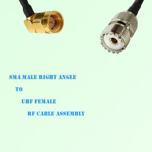 SMA Male Right Angle to UHF Female RF Cable Assembly