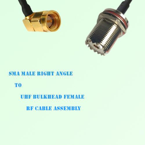 SMA Male Right Angle to UHF Bulkhead Female RF Cable Assembly