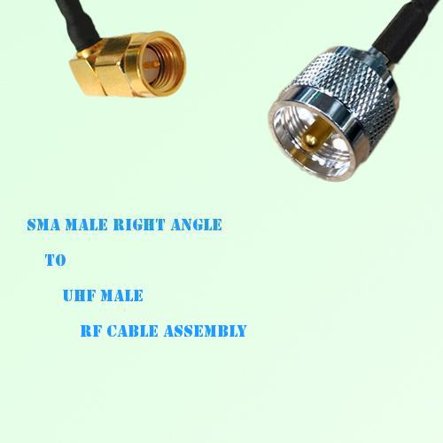 SMA Male Right Angle to UHF Male RF Cable Assembly