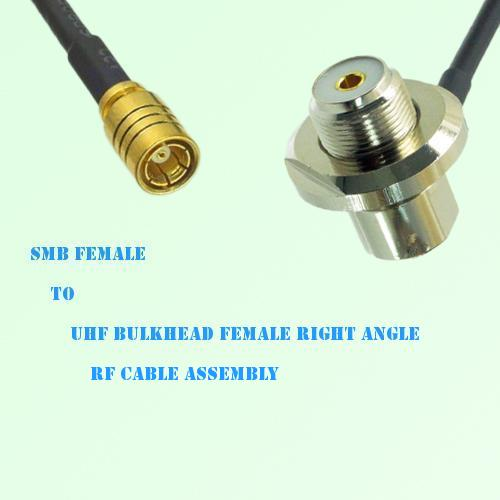 SMB Female to UHF Bulkhead Female Right Angle RF Cable Assembly