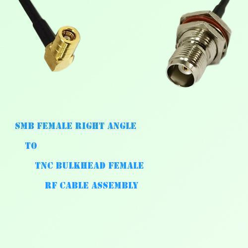 SMB Female Right Angle to TNC Bulkhead Female RF Cable Assembly