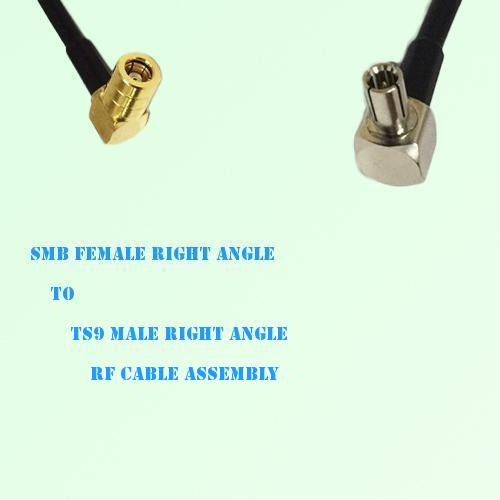SMB Female Right Angle to TS9 Male Right Angle RF Cable Assembly