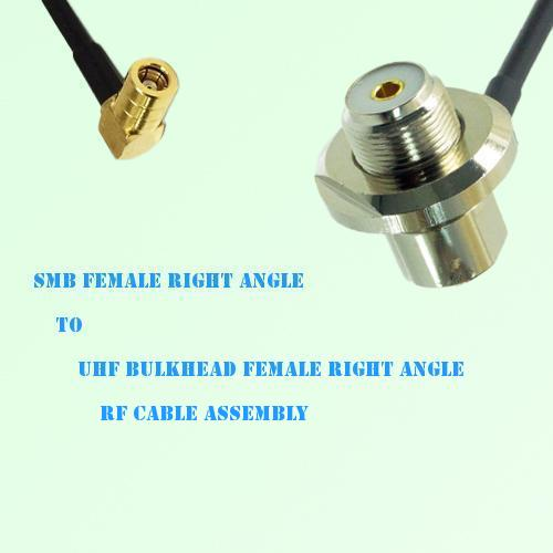 SMB Female R/A to UHF Bulkhead Female R/A RF Cable Assembly