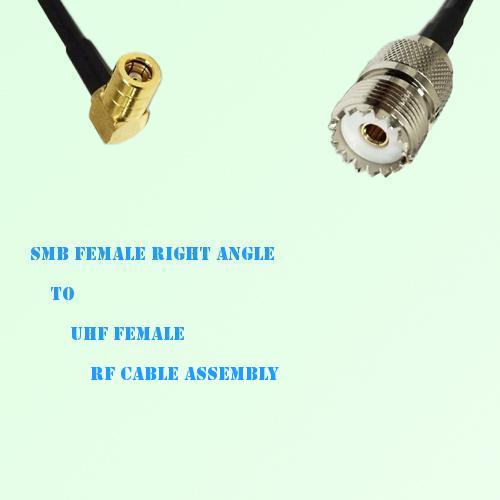 SMB Female Right Angle to UHF Female RF Cable Assembly