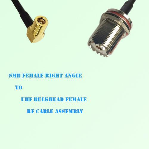 SMB Female Right Angle to UHF Bulkhead Female RF Cable Assembly