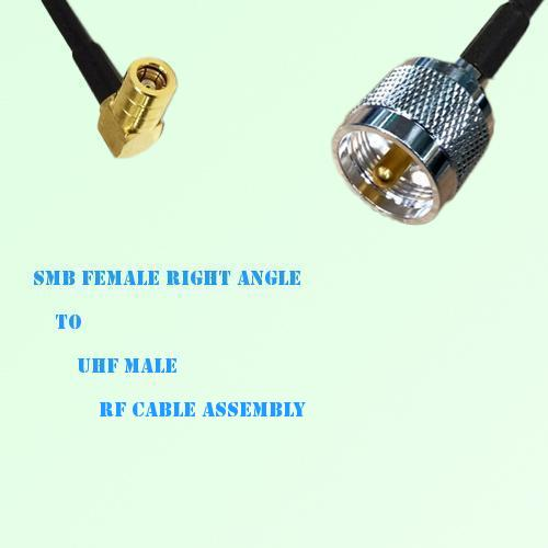 SMB Female Right Angle to UHF Male RF Cable Assembly