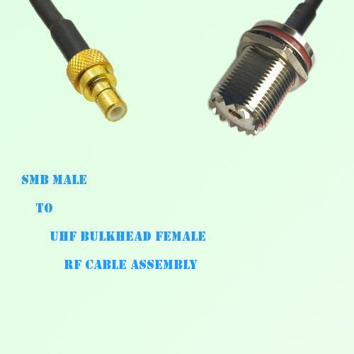 SMB Male to UHF Bulkhead Female RF Cable Assembly