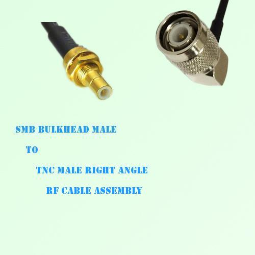 SMB Bulkhead Male to TNC Male Right Angle RF Cable Assembly