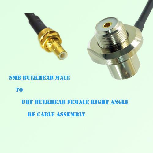 SMB Bulkhead Male to UHF Bulkhead Female Right Angle RF Cable Assembly