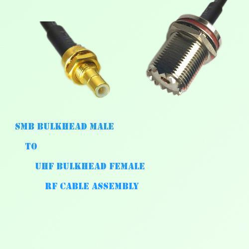 SMB Bulkhead Male to UHF Bulkhead Female RF Cable Assembly