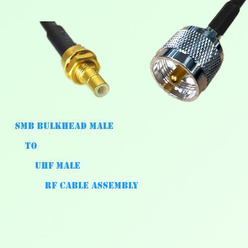 SMB Bulkhead Male to UHF Male RF Cable Assembly