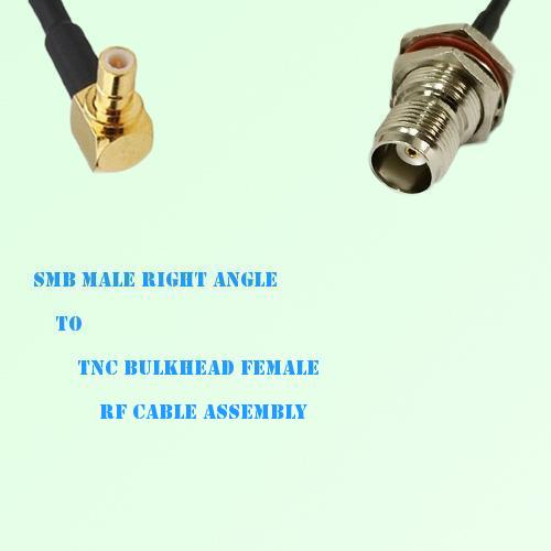 SMB Male Right Angle to TNC Bulkhead Female RF Cable Assembly