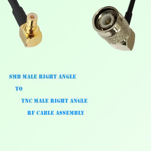 SMB Male Right Angle to TNC Male Right Angle RF Cable Assembly