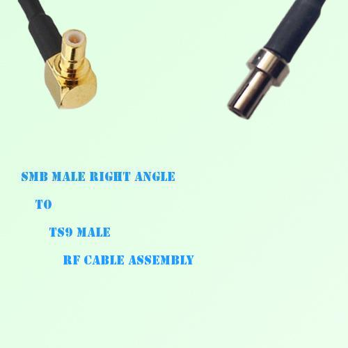 SMB Male Right Angle to TS9 Male RF Cable Assembly