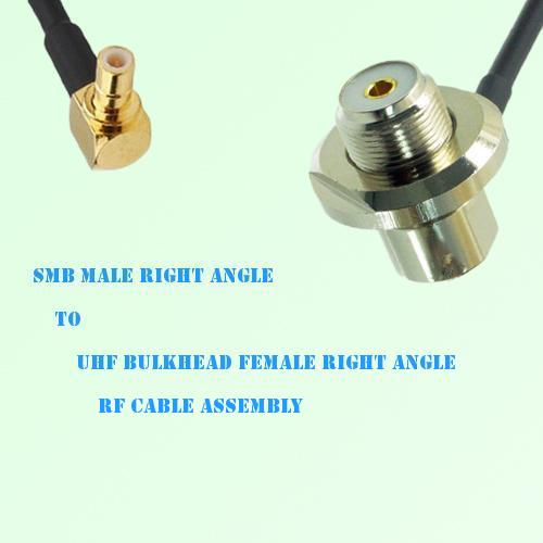 SMB Male R/A to UHF Bulkhead Female R/A RF Cable Assembly