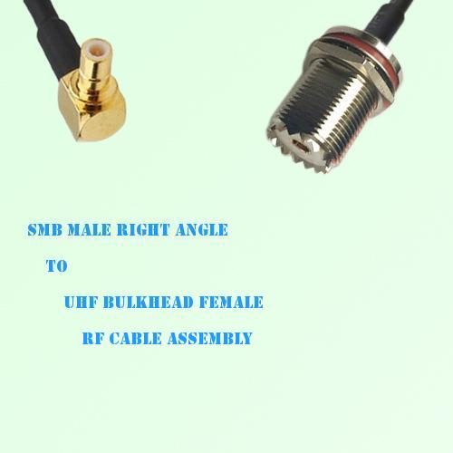 SMB Male Right Angle to UHF Bulkhead Female RF Cable Assembly