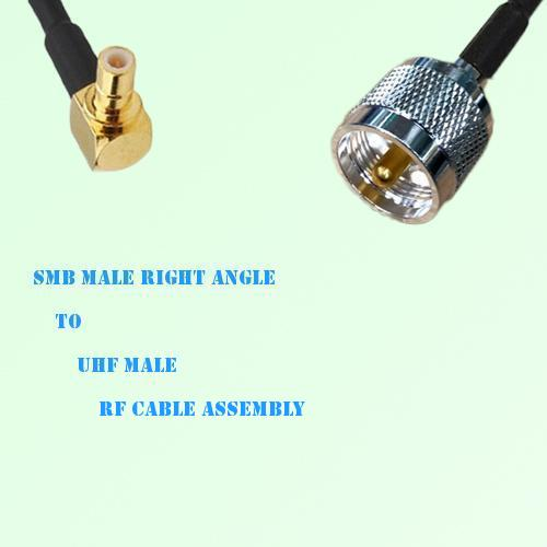 SMB Male Right Angle to UHF Male RF Cable Assembly