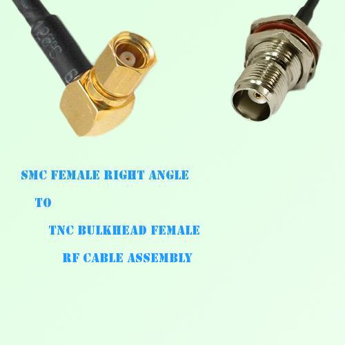 SMC Female Right Angle to TNC Bulkhead Female RF Cable Assembly