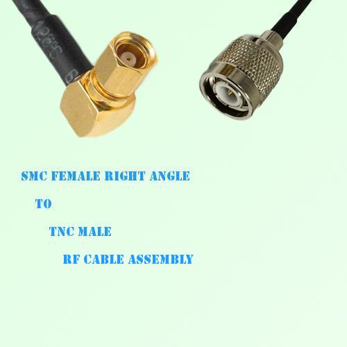 SMC Female Right Angle to TNC Male RF Cable Assembly