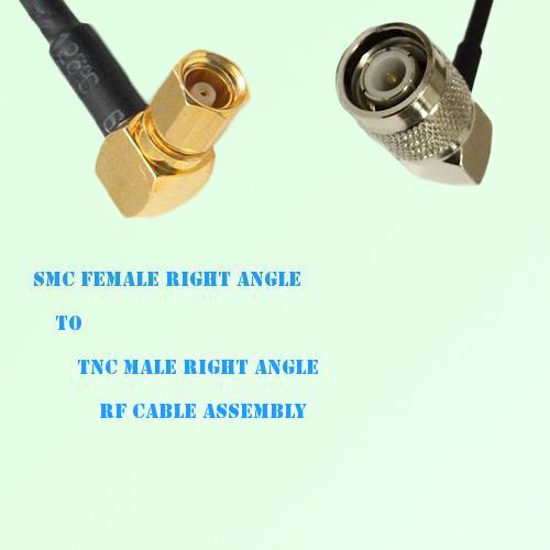 SMC Female Right Angle to TNC Male Right Angle RF Cable Assembly