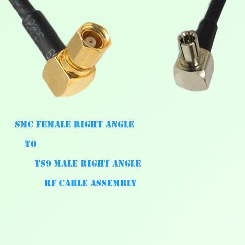 SMC Female Right Angle to TS9 Male Right Angle RF Cable Assembly