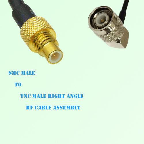 SMC Male to TNC Male Right Angle RF Cable Assembly