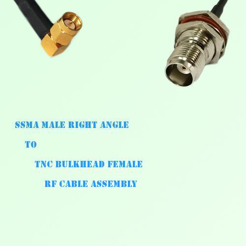 SSMA Male Right Angle to TNC Bulkhead Female RF Cable Assembly