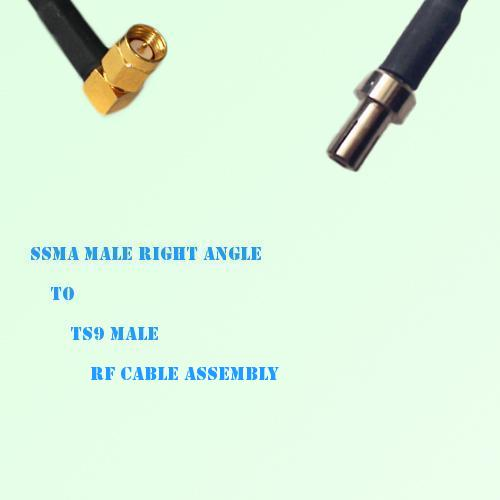 SSMA Male Right Angle to TS9 Male RF Cable Assembly