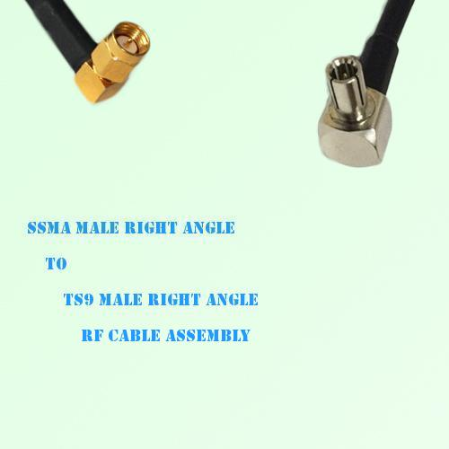 SSMA Male Right Angle to TS9 Male Right Angle RF Cable Assembly
