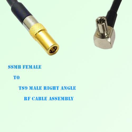 SSMB Female to TS9 Male Right Angle RF Cable Assembly