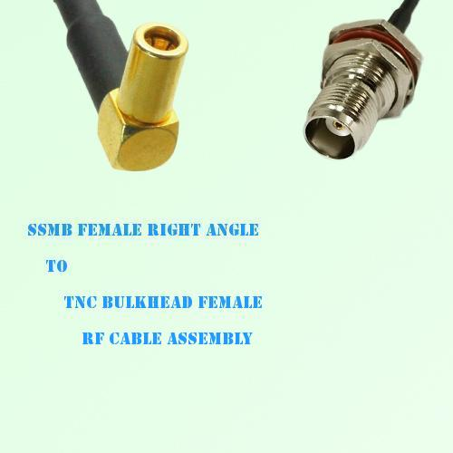 SSMB Female Right Angle to TNC Bulkhead Female RF Cable Assembly