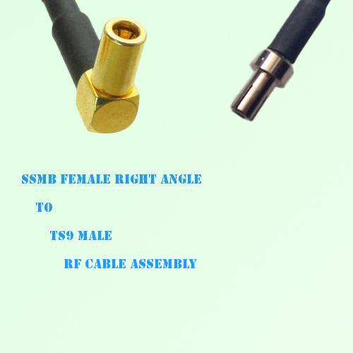 SSMB Female Right Angle to TS9 Male RF Cable Assembly