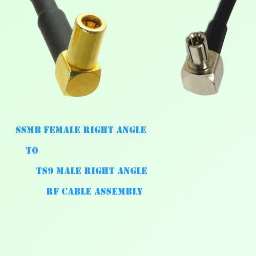 SSMB Female Right Angle to TS9 Male Right Angle RF Cable Assembly
