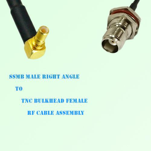 SSMB Male Right Angle to TNC Bulkhead Female RF Cable Assembly