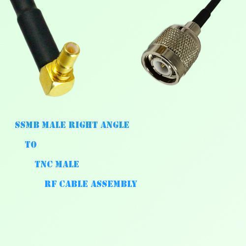 SSMB Male Right Angle to TNC Male RF Cable Assembly