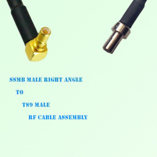 SSMB Male Right Angle to TS9 Male RF Cable Assembly