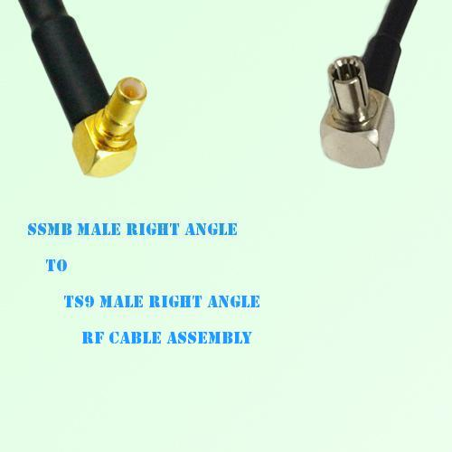 SSMB Male Right Angle to TS9 Male Right Angle RF Cable Assembly